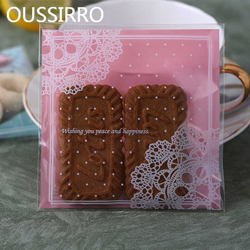 95-100pcs Pink Lace Plastic Biscuit Cookies Bags Wedding Birthday Party Craft Self-adhesive Packaging Gift Bag For Candy Cake