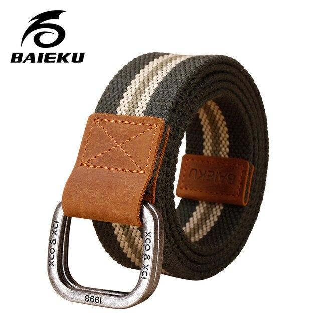 BAIEKU  Men 's double loop buckle belt young student canvas belt