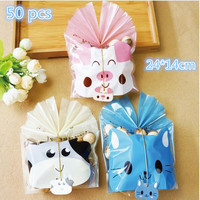 Newest 50pcs Set 24 14cm Cute Pig Candy Bag With Ribbon Cookie Gift Box Pouch Party