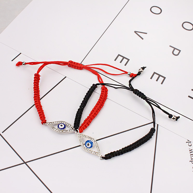 1pc  black/red string crytal pave alloy evil eye charm woven turkish bracelet