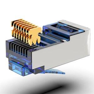 Image 2 - AMPCOM CAT6 Shielded RJ45 Modular Plug Connector 8P8C Crimp End Ethernet Cable Ethernet Connector  Gold Plated 50U