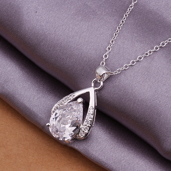 Factory price top quality Silver Plated & Stamped 925 big teardrop stone pendant necklace for women jewerly wholesale promotion
