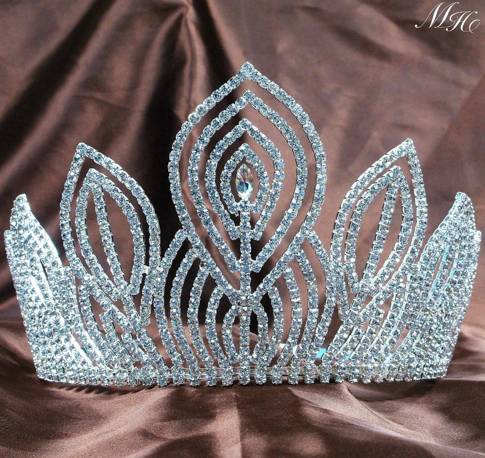 Fantastic Large 5 25 Pageant Tiaras Handmade Brides Crowns Clear Rhinestone Silver Headband Jewelry Bridal Wedding