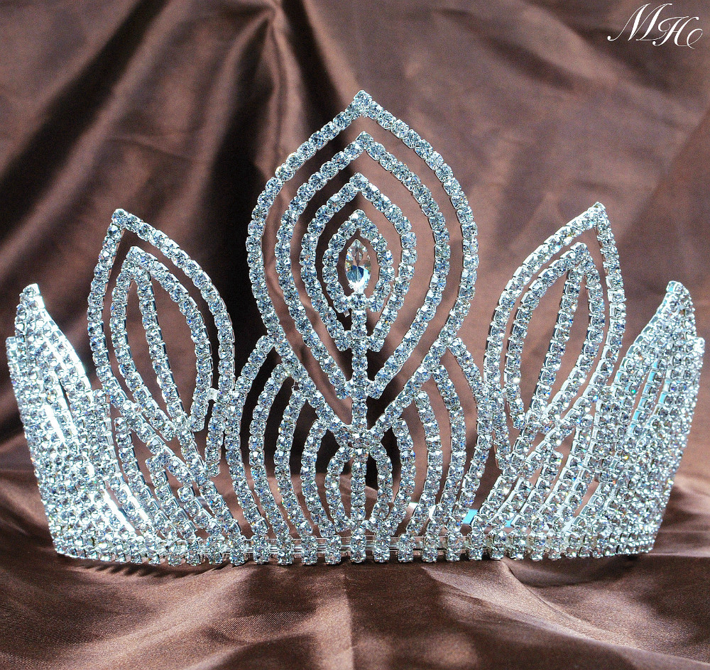 Fantastic Large 5.25 Pageant Tiaras Handmade Brides Crowns Clear Rhinestone Silver Headband Jewelry Bridal Wedding Prom Party