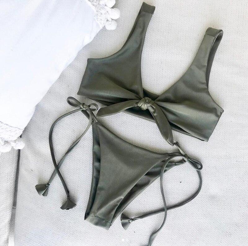 Summer beach bikini set women sexy solid swimwear 2018 Hot bathingsuit bandage swimsuit high quality push up biquinis