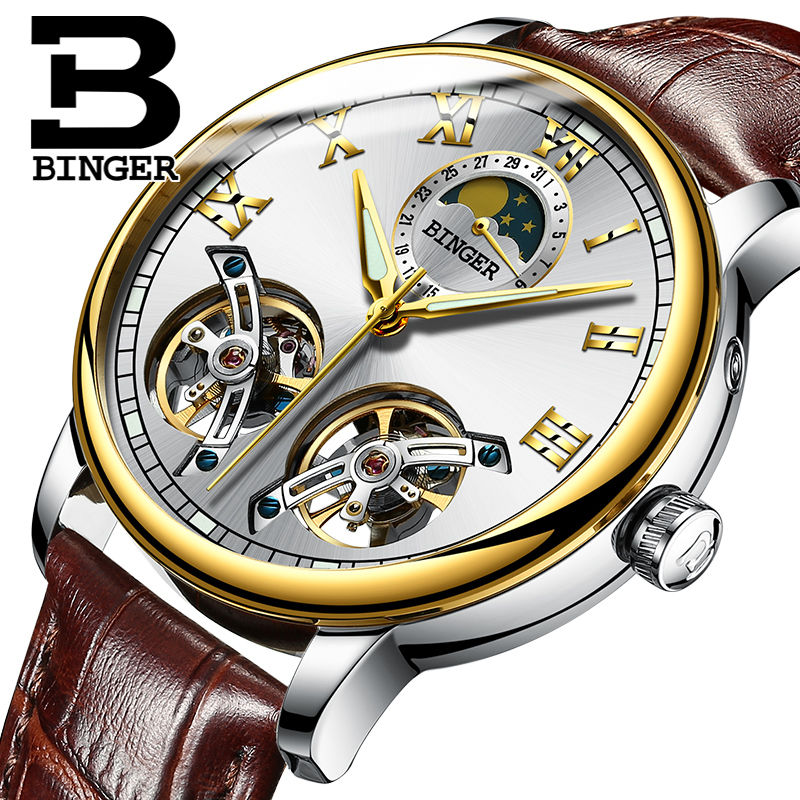 BINGER Men Skeleton Automatic Mechanical Watch New Arrival Design Mens Fashion Casual Leather Watches Waterproof relogio 2017 sollen clock women skeleton automatic mechanical watch new arrival design women fashion casual leather watches relogio femininos