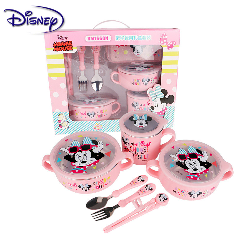 Disney Children's 6-piece Stainless Steel Cutlery Sets Popular Cartoon Seven-Piece Baby Food Supplement Plate Cup Spoon Fork Set