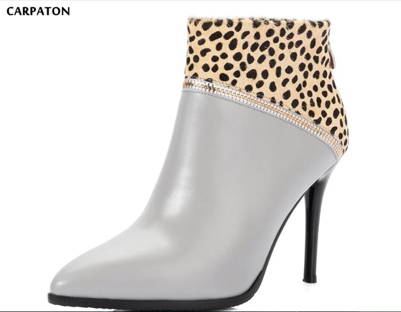 Carpaton 2018 Newest Women Solid Leopard decoration High heels boots Classic Pointed Toe Everyday Wild model Women shoes футболка classic everyday