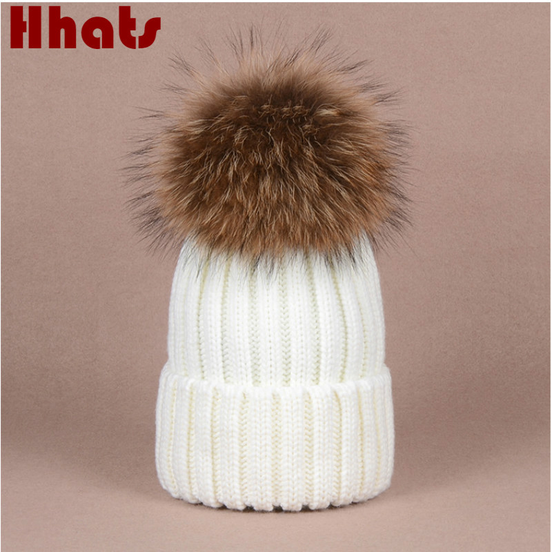 Which in shower real raccoon fur pompom thick warm winter women hat knit bobble female cap with fur pom pom lady fur ball beanie