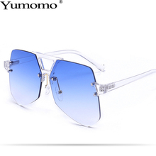 Irregular Frameless Sunglasses Women Personlity Retro Fashion Colorful Transparent Metal Frame Female De Sol Gafas UV400 Oculus