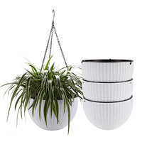 T4U 10 Self Watering Hanging Planter Basket with Chain White, Modern Plastic Flower Pot Hanger Round Plant Holder Pack of 4