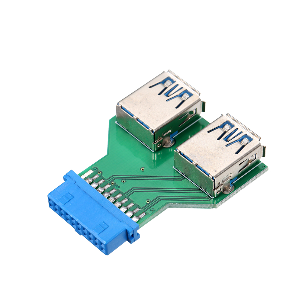 20Pin To Dual USB3.0 Adapter Connverter Desktop Motherboard 19Pin/20Pin Header To 2 Ports USB 3.0 A Female Connector Card Reader