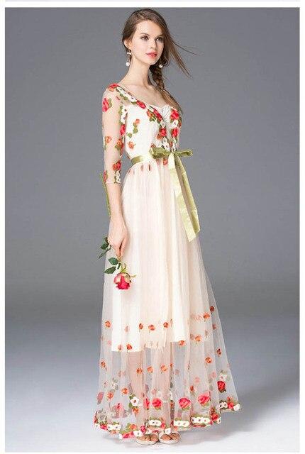 Vestidos largo primavera malla bordado sexy elegante manga tres cuartos 3