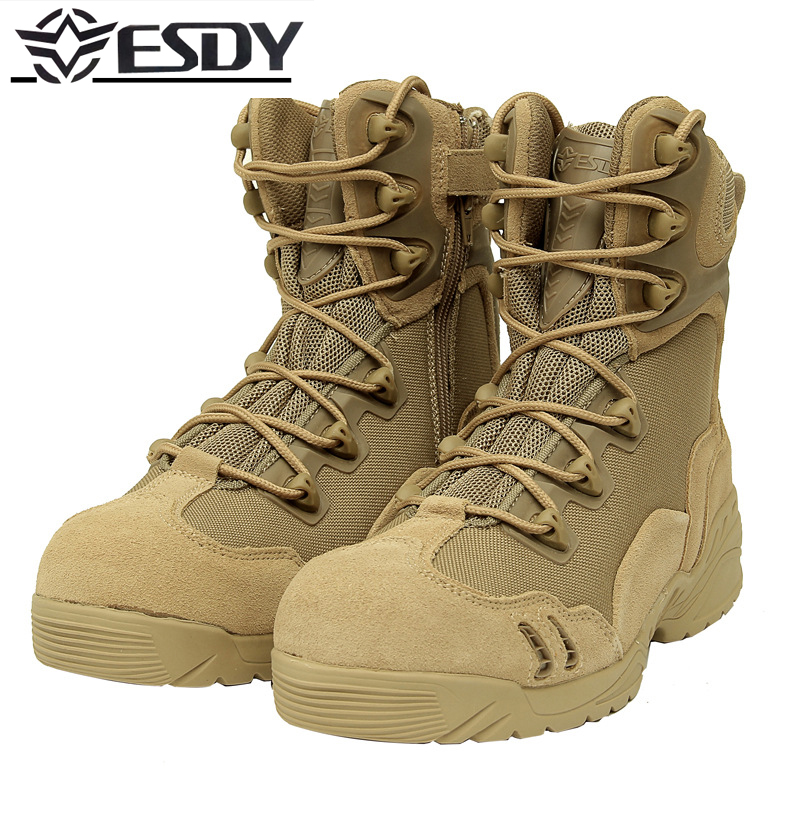 High Quality 2017 Outdoor Dunk High Desert Combat boots ESDY Mountain Hiking Shoes Wear Resistant military Shock Boots Men