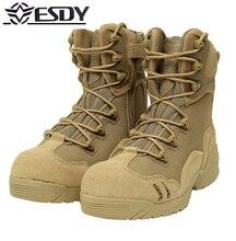 Высокое Качество 2017 Открытый Dunk High Desert Combat сапоги ESDY Горный Туризм Обувь Износостойкие военные Ударные Сапоги Мужчины