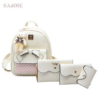 SAJOSE Japan And South Korea Fashion Beige Medium 4 Sets Lovely Bow Tie Bear Women Shoulder