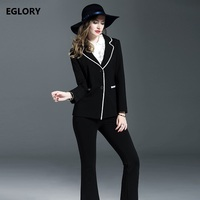 2017 Fashionable Women Business Suits White Striped Patchwork Black Blazer Coat Ankle Length Black Formal Pants