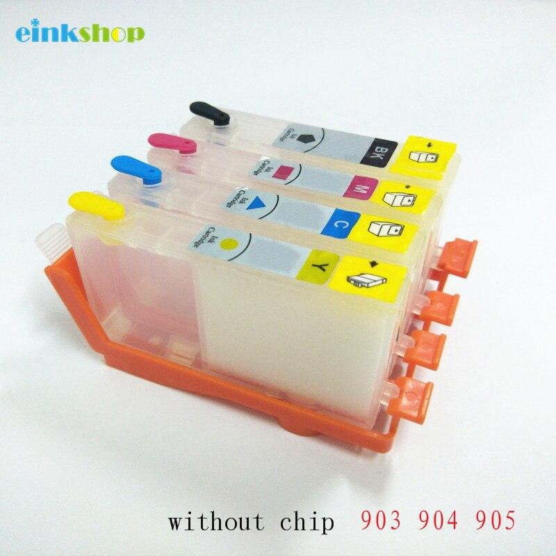 Einkshop 903xl 904 substituição do cartucho de tinta recarregável para hp 903 904 905 officejet 6950 pro 6960 impressora sem chip