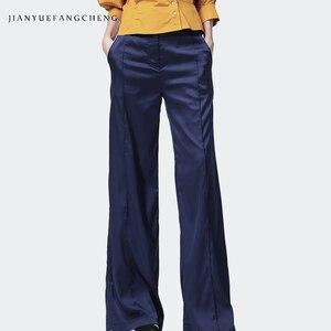 Image 3 - 2019 الصيف المرأة لينة الحرير السراويل السراويل عالية الخصر واسعة الساق جيب مطوي عادية الشارع الشهير سروال فستان للنساء