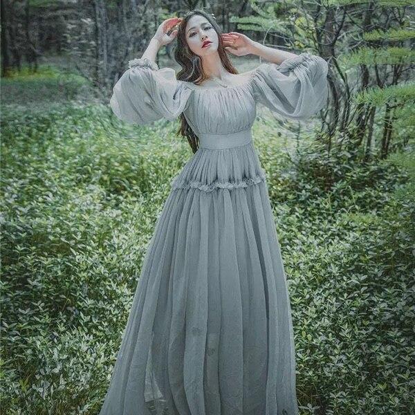 Antique Dressing Gown: 2018 Women Light Gray Seashore Vintage Fairy Long Maxi