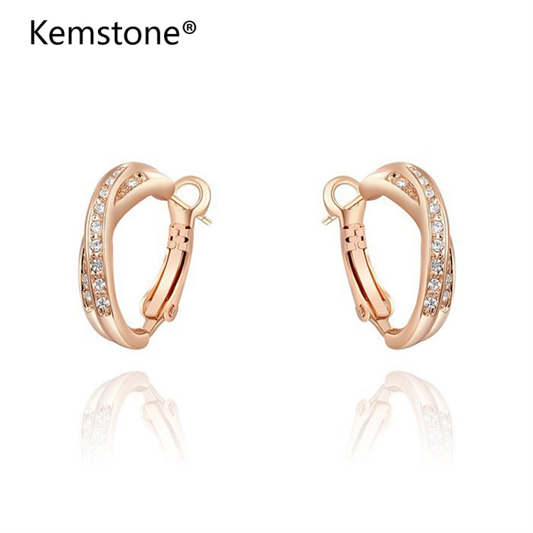 Kemstone Charms Intersection Crystal Studs Earring Exquisite Rose Gold Color for Elegant Women Wedding Jewelry for Romantic Gift