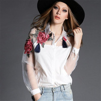 Elegant Floral Embroidered Flower Tassels Shirt Net Yarn Eugen Long Sleeved Perspective White Shirt Polo Collar