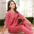 Хорошее качество атласа пижамы большой размер L-XXXL половина рукава цветочные кружева v шеи полная длина брюки пижамы femme осень пижамы набор