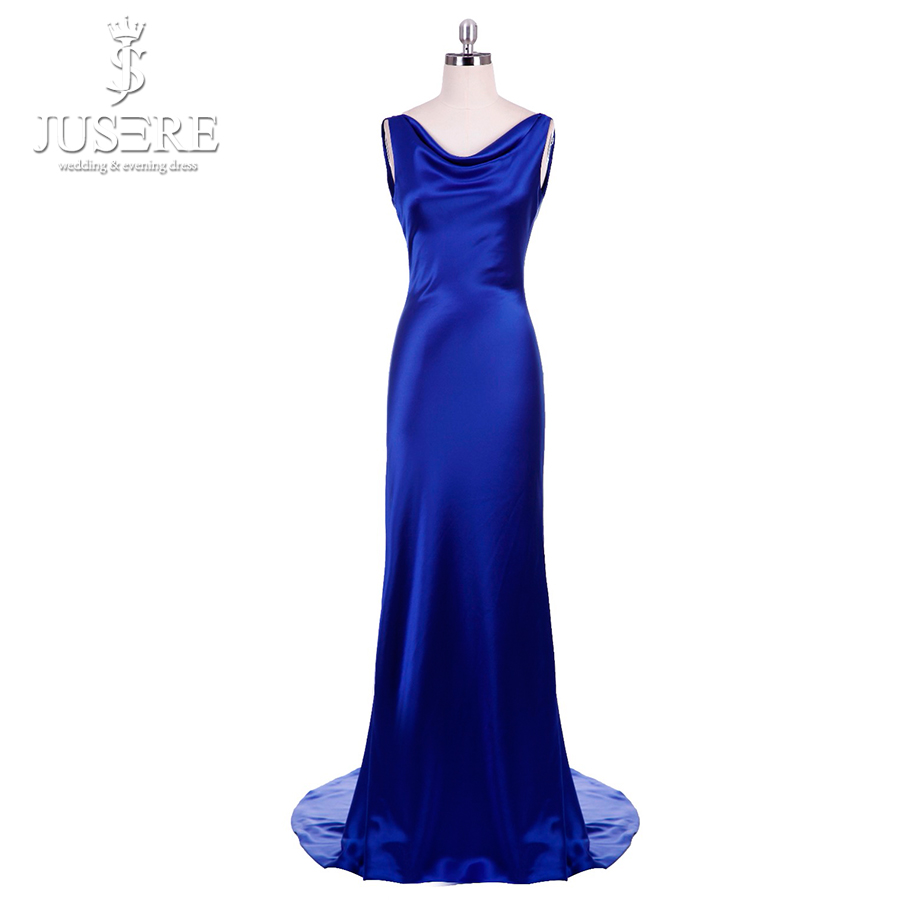 Simple Long CelebrityDress 2018 Sexy Fodero con scollo a V cinturino che scorre sottile elegante donna formale abito backless blu royal abito da sera