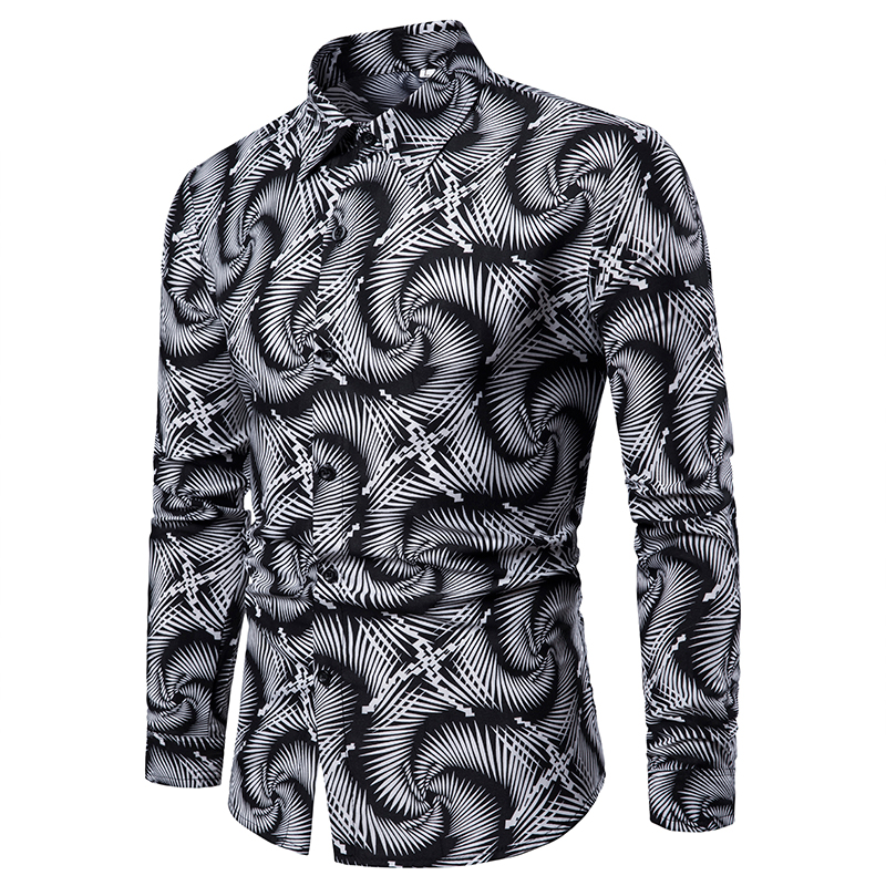 Men's Casual Vortex Slim Fit Long-Sleeved Formal Dress Shirts Men's Black White Printed Shirts Male Social Chemise Tops Shirts
