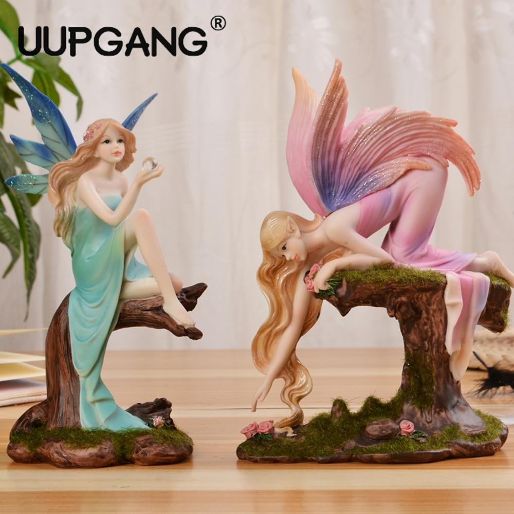 Nordic Style Desktop Creative Fairy Angel Girl Elf Figurine Miniature Doll Ornament Room Home Decoration Gift Bedroom Decor