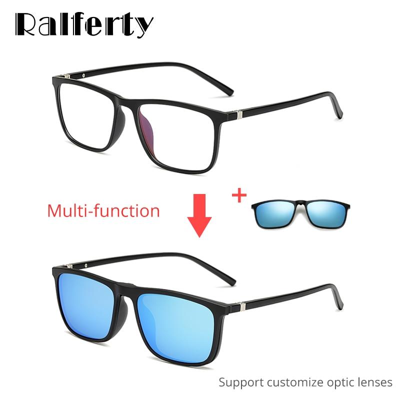Ralferty Magnetic Sunglasses Men 5 In 1 Polarized Clip On Sunglass Women Squa...