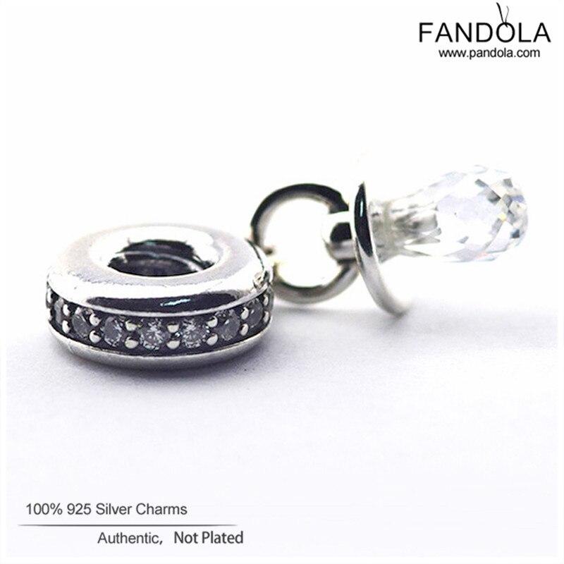Promotion 925 Sterling Silver Clear CZ Pacifier Dangle Perles pour la - Bijoux - Photo 5