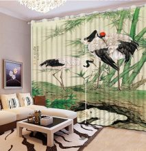 Classic Home Decor Home Bedroom Decoration 3D Curtain Color Painting Bird Leaf Moon Curtains For Bedroom 3D Window Curtain(China)