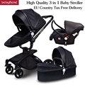 Marco negro babyfon marca venta superior bebé Cochecitos 360 rotación de alta calidad de cuero blanco negro Color 3 en 1 carro muchos colores