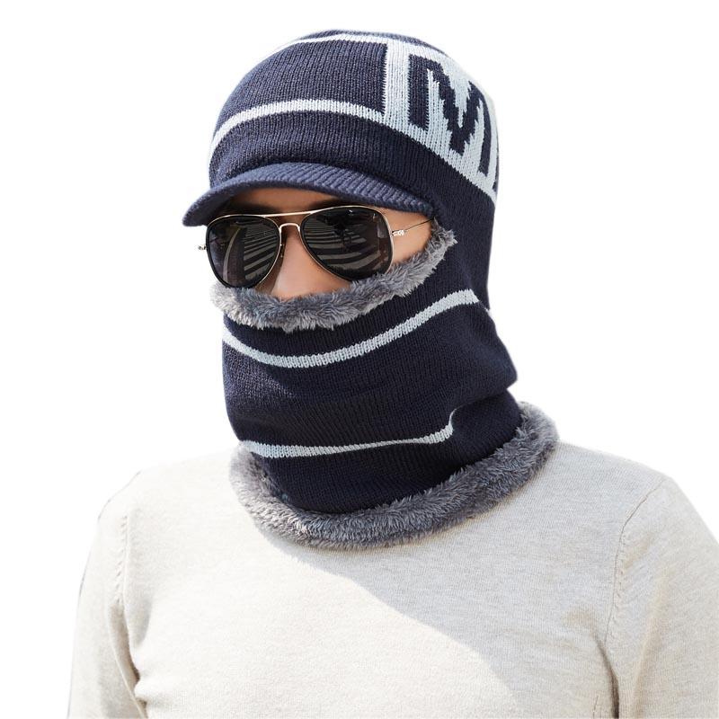 d45e0c941c6 Skullies Beanies Men Scarf Knitted Hat Cap Male Plus Gorras Bonnet Warm Wool  Thick Winter Hats For Men Women Beanie Hat