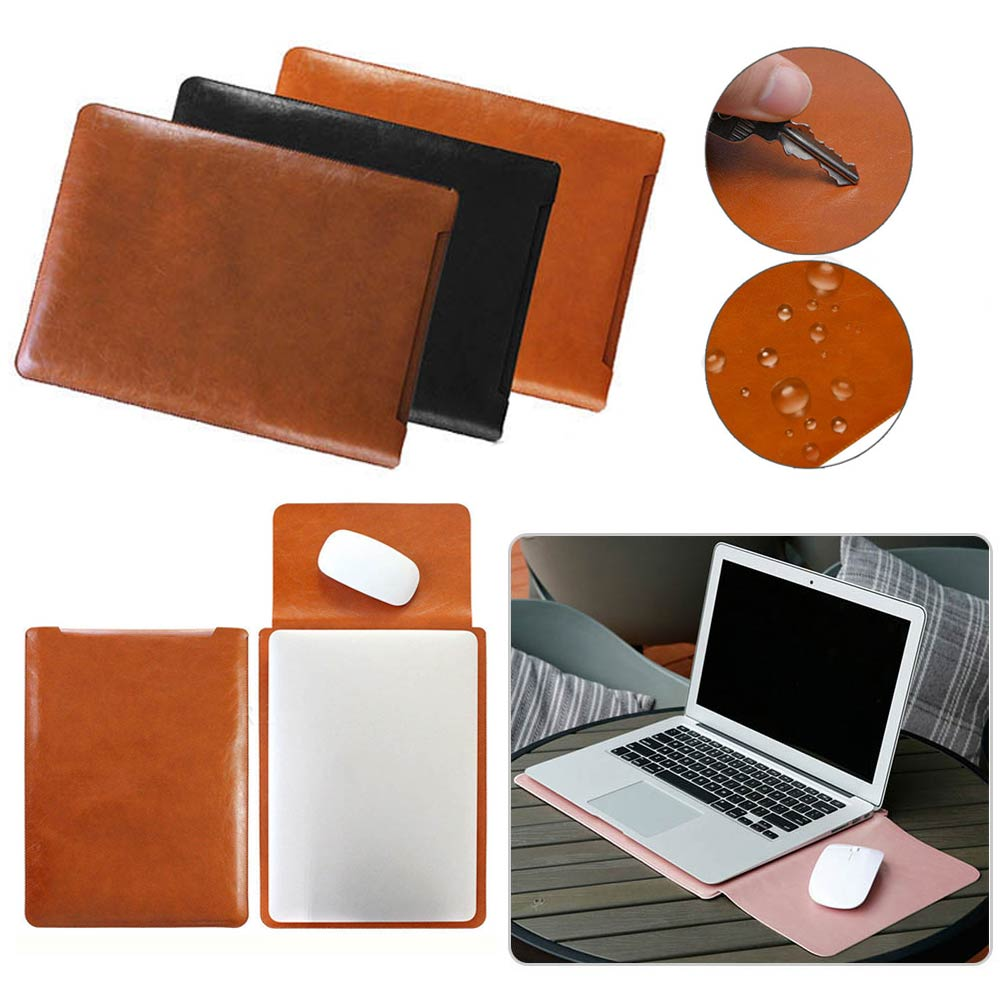 Universal <font><b>Leather</b></font> <font><b>Laptop</b></font> <font><b>Sleeve</b></font> Bag Case 11 <font><b>13</b></font> 15 <font><b>inch</b></font> Notebook Pouch Bag Cover For Macbook Air Pro Dell Samsung Asus Acer HP image
