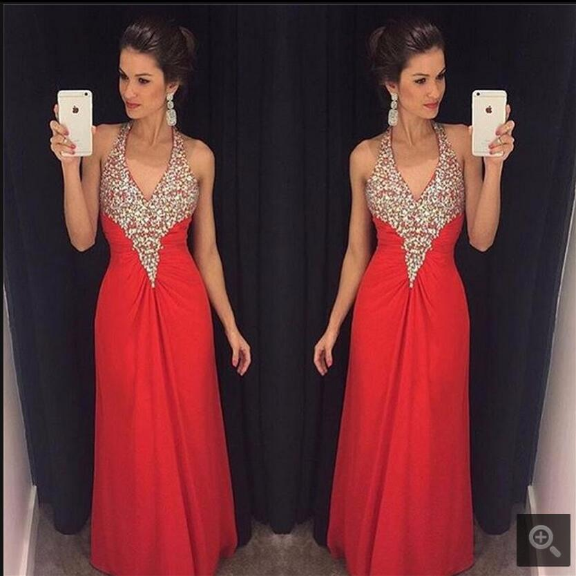 Red Long chiffon   Evening     Dresses   2017 A Line Beaded Sequin Halter Beautiful Formal   Evening   Gowns Custom Made best selling