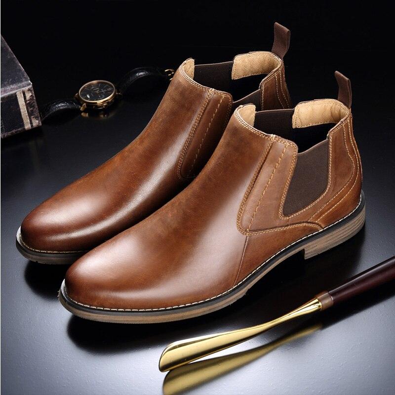 cut Couro Do Moda Homens Grande Tamanho Genuíno Botas Chelsea Sapatos Altas Vestido De Estilo High Black Vryheid brown Casual Vintage Formal tz4Xww