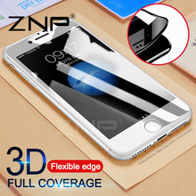 ZNP Full Cover Screen Protector For iPhone 8 7 Plus 3D Soft Edge Tempered Glass For iPhone 7 8 Plus 8 3D Protector Glass Film