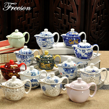 Acient Chinese Kung Fu Porcelain Teapot Infuser Handmade Dragon Flower Paint Puer