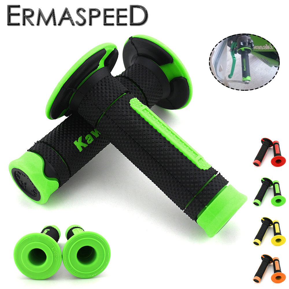 For KAWASAKI Z250 Z300 Z800 Z1000 Ninja 400 Motorcycle Hand Grips 7/8'' 22mm Handle Rubber Bar Gel Grip Green Modified Accessory недорго, оригинальная цена
