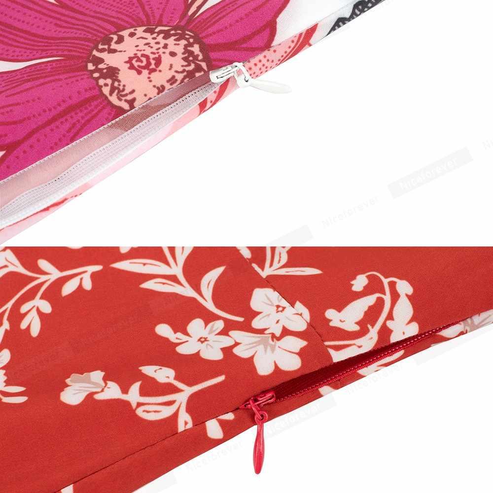 Nice-forever в богемном стиле элегантный цветочный сексуальный v-образный вырез Разделение Принт vestidos Макси Для женщин вечерние расклешенное летнее пляжное платье A098