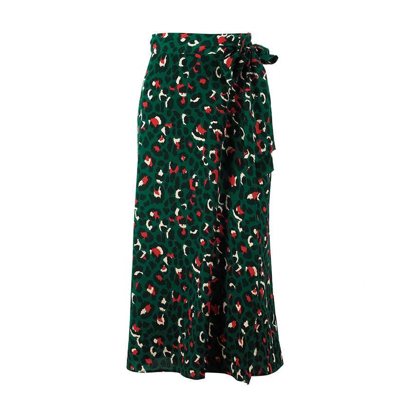 Ootn impressão leopardo do vintage saias longas das mulheres de cintura alta midi saia gravata borboleta 2019 verão sexy divisão envoltório saia senhoras verde praia