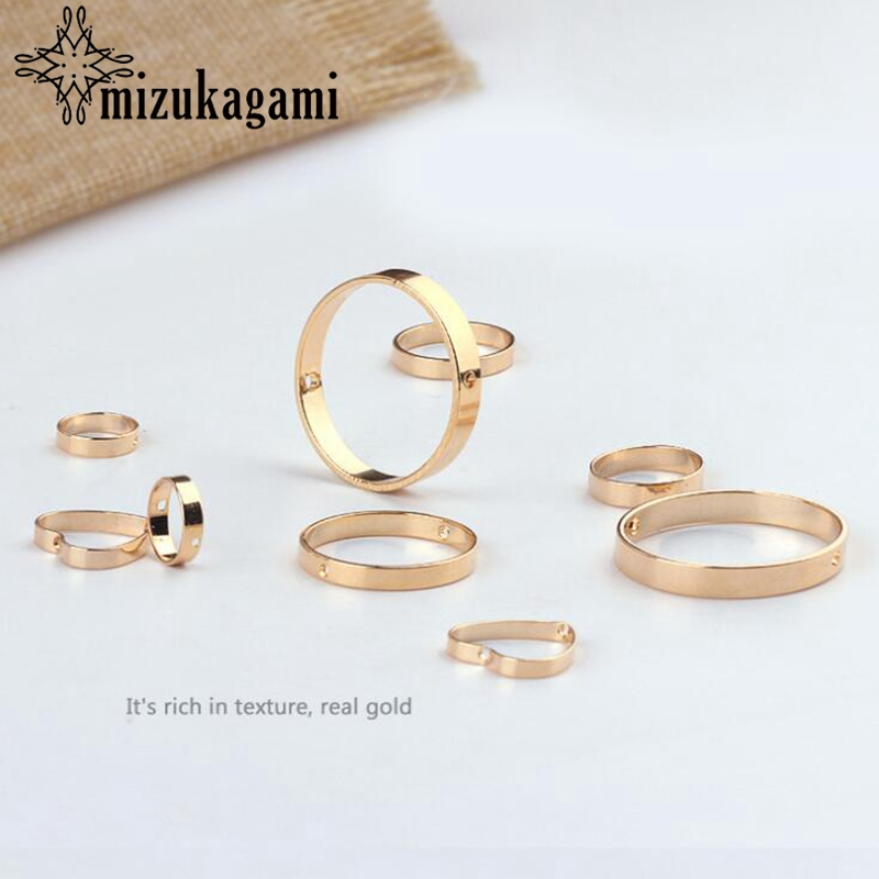 Bronze True Golden Hollow Perforated Round Heart Jump Ring 10PCS For DIY Earrings Jewelry Making Accessories