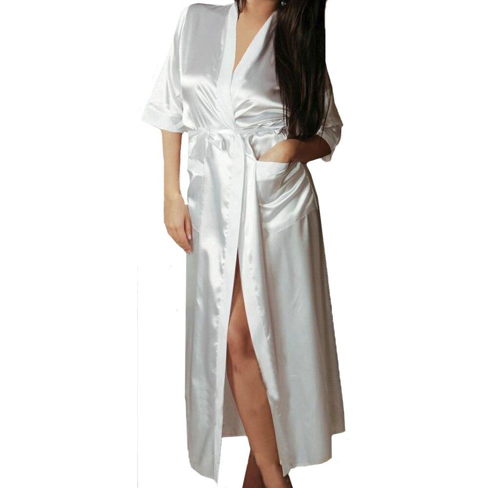 long dressing gown sexy bath kimono robe sleepwear bridesmaid Vintage lingerie night robes bathrobe satin robe peignoir femme gown