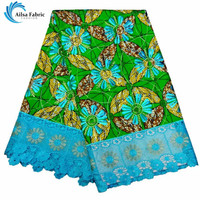 Fashion Design Embroidery Wax Lace Fabric African Ankara Party Dress Wax Lace Fabric 6yards