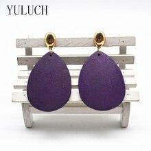 YULUCH Wood Earrings Big Drops of Water Africa For Women Fashionable Woman Earrings Metal Ear Hooks Popular Accessories