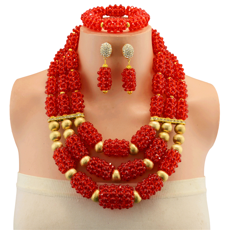 все цены на Dark Red Vintage Crystal Jewelry African Beads Jewelry Set Necklace Earrings Resin Antique Copper Beads Jewelry Sets For Women