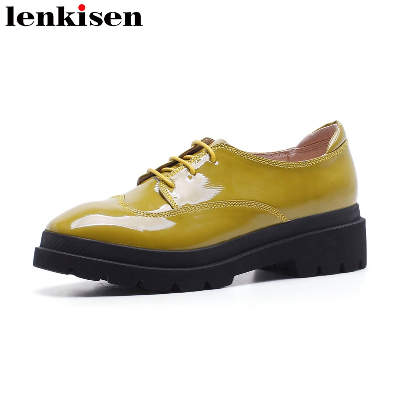 Lenkisen 2018 round toe lace up patent leather sweet platform causal shoes thick heel elegant handmade classic women pumps L23 punk platform creepers shoes womens round toe patent leather block high heel pumps lace up riding ankle boots shoes plus size