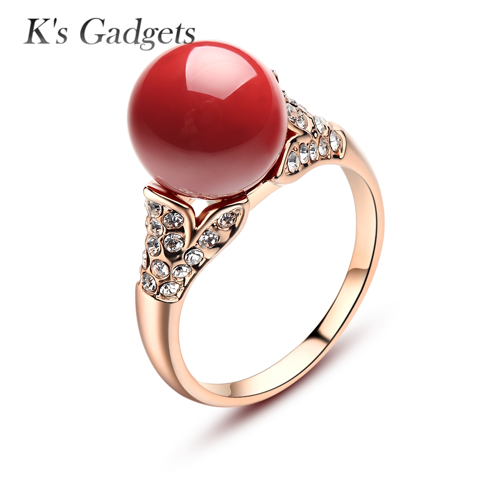 Natural Jewelry Rose Gold Silver Plated Austrian Crystal Ball Artificial Coral Rings For Women Red Stone Antique Round Ring